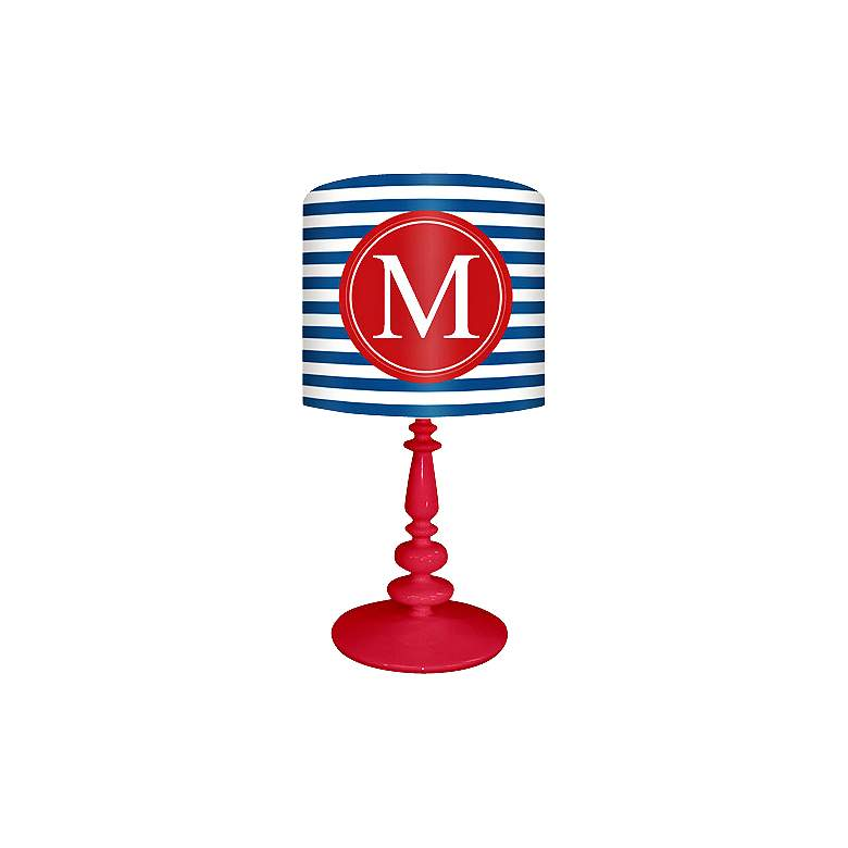 """Blue And Red """"M"""" Striped Monogram Kids Table Lamp"""