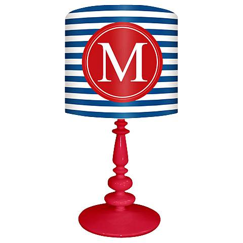 "Blue And Red ""M"" Striped Monogram Kids Table Lamp"