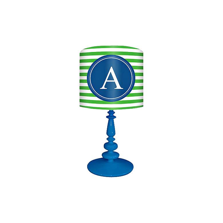 "Blue And Green ""A"" Striped Monogram Kids Table Lamp"