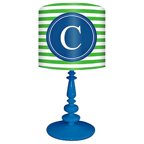 "Blue And Green ""C"" Striped Monogram Kids Table Lamp"