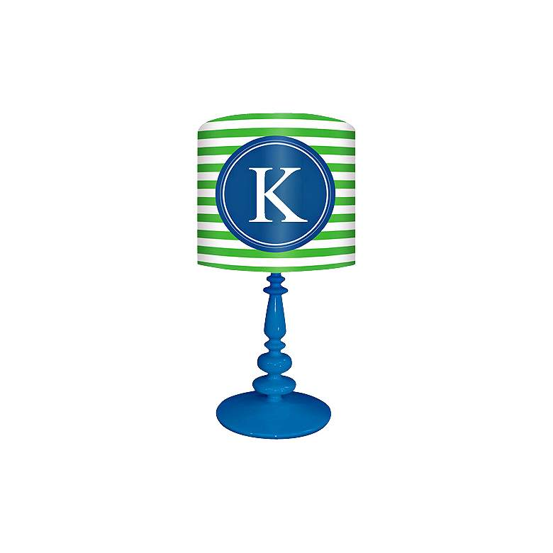 """Blue And Green """"K"""" Striped Monogram Kids Table Lamp"""