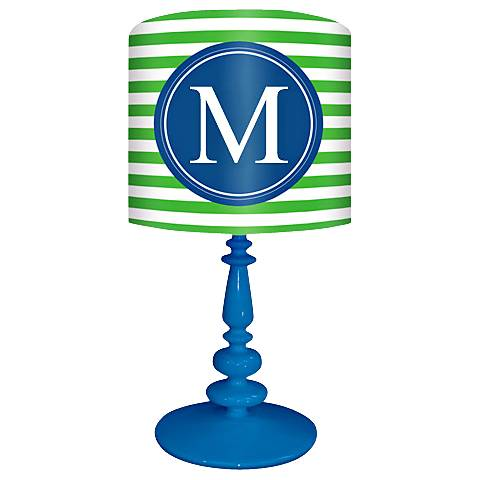 "Blue And Green ""M"" Striped Monogram Kids Table Lamp"