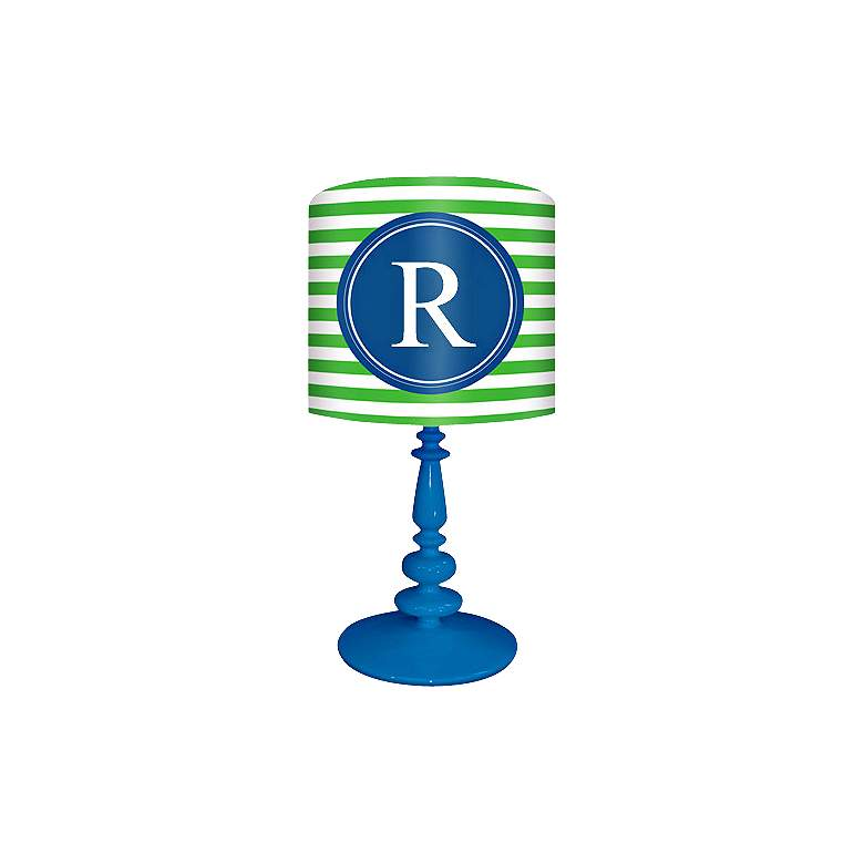"""Blue And Green """"R"""" Striped Monogram Kids Table Lamp"""