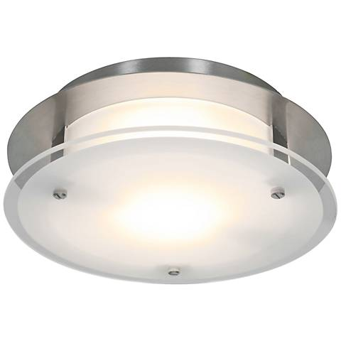 "Access Vision Round 12"" Wide Brushed Steel Ceiling Light"