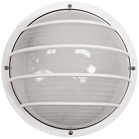 Wave Nautical Led Round White Outdoor Ceiling Or Wall Light