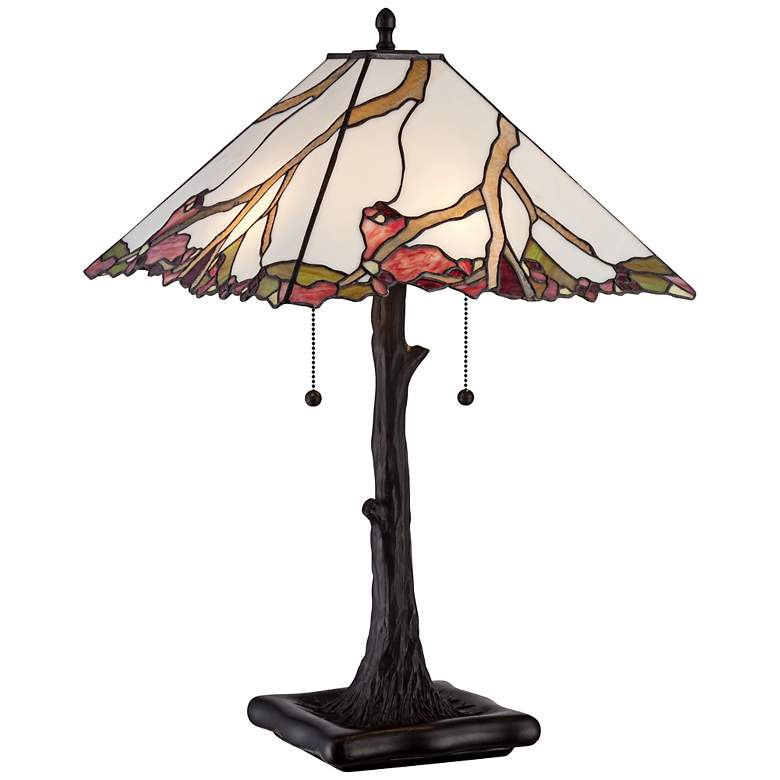 Robert Louis Tiffany Cherry Blossom Art Glass Table Lamp
