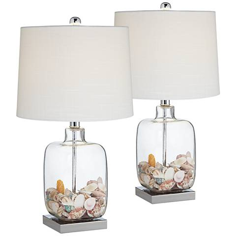 Square Clear Glass Fillable Table Lamp Set of 2