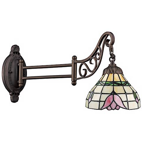 Rose Bronze Tiffany Style Swing Arm Wall Lamp