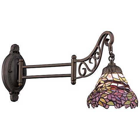 Lavender Bronze Tiffany Style Swing Arm Wall Lamp
