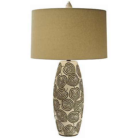 Natural Light Relief Oatmeal Pottery Table Lamp