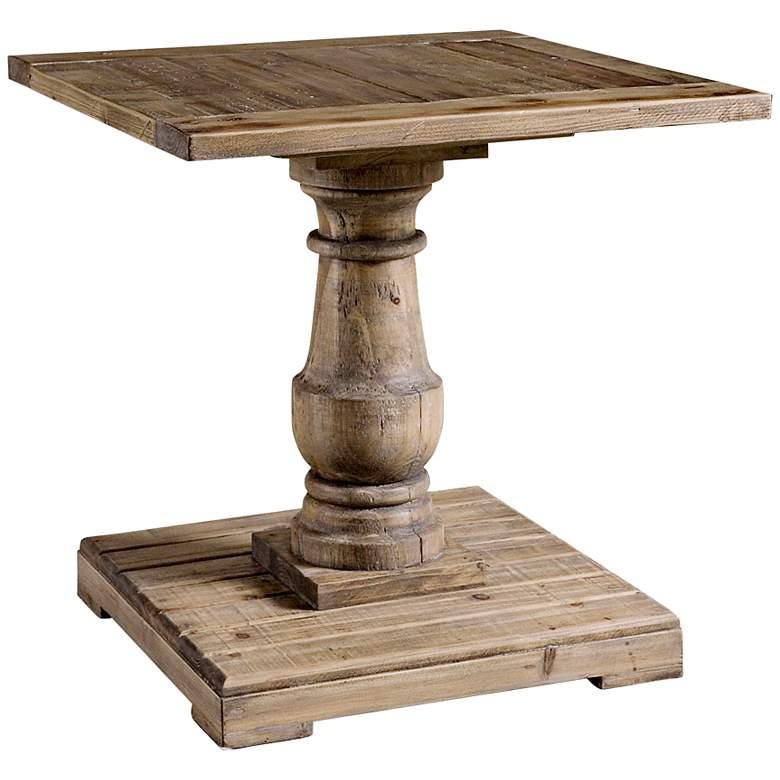 "Stratford 26"" Wide Reclaimed Fir Wood Pedestal End Table"