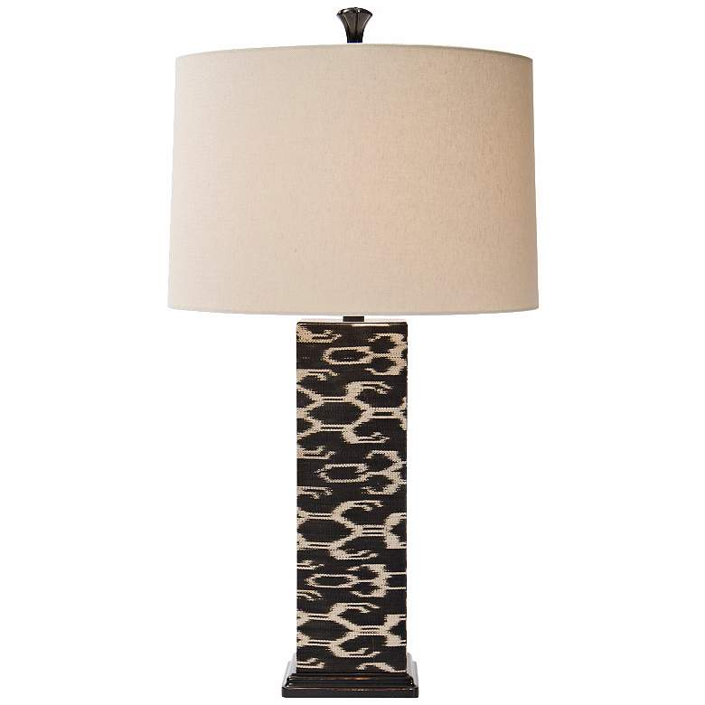 Natural Light Ikat Square Woven Abaca Table Lamp