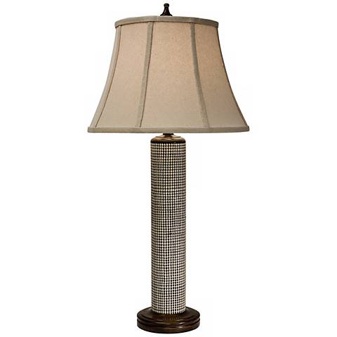 Natural Light Houndstooth Woven Abaca Table Lamp
