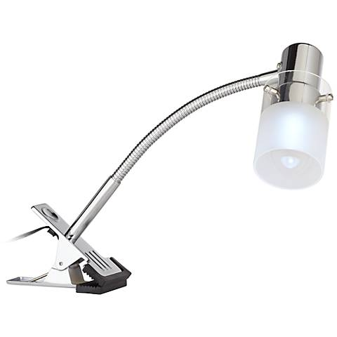 LED Mini Gooseneck Clip On Light in Brushed Steel