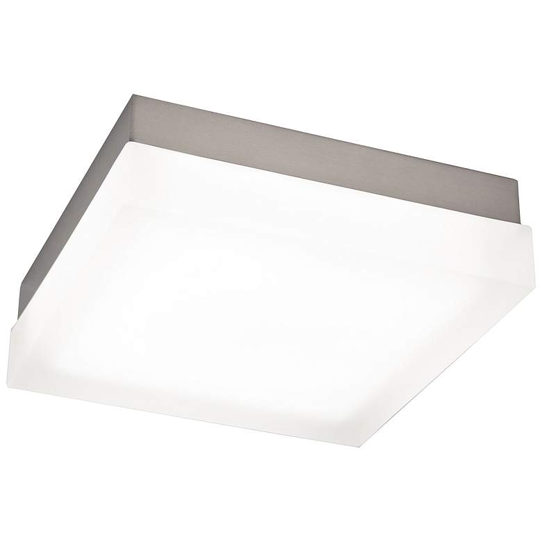 """dweLED Dice 9"""" Wide Brushed Nickel Square LED Ceiling Light"""