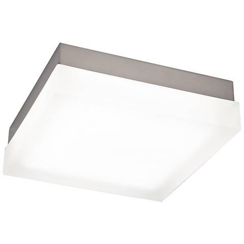 "dweLED Dice 9"" Wide Brushed Nickel Square LED Ceiling Light"