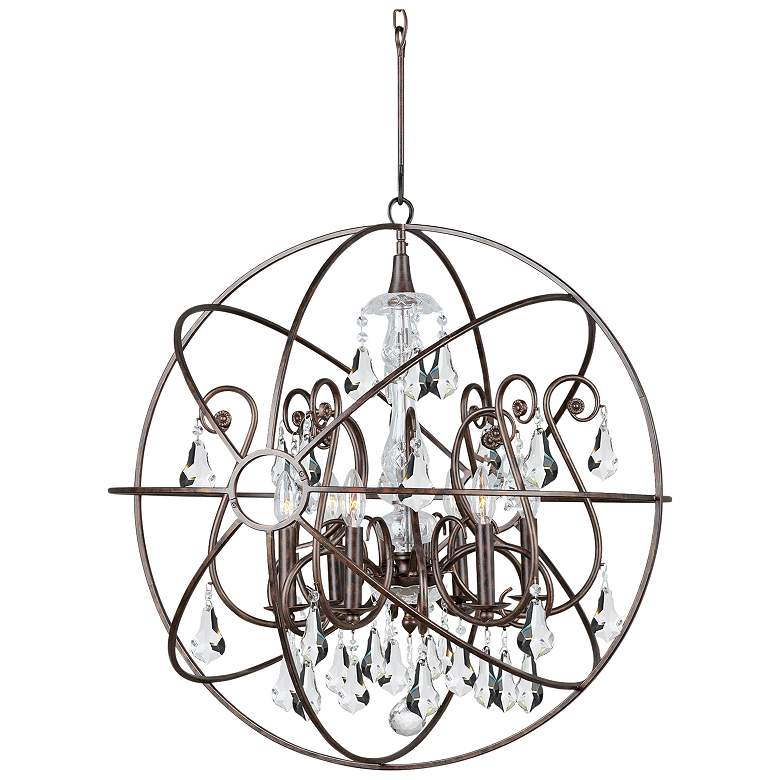"""Solaris 28""""W English Bronze and Crystal 6-Light Chandelier"""