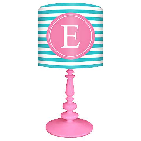"Oopsy Daisy ""E"" Striped Monogram Kids Table Lamp"