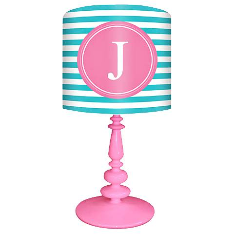"Oopsy Daisy ""J"" Striped Monogram Kids Table Lamp"