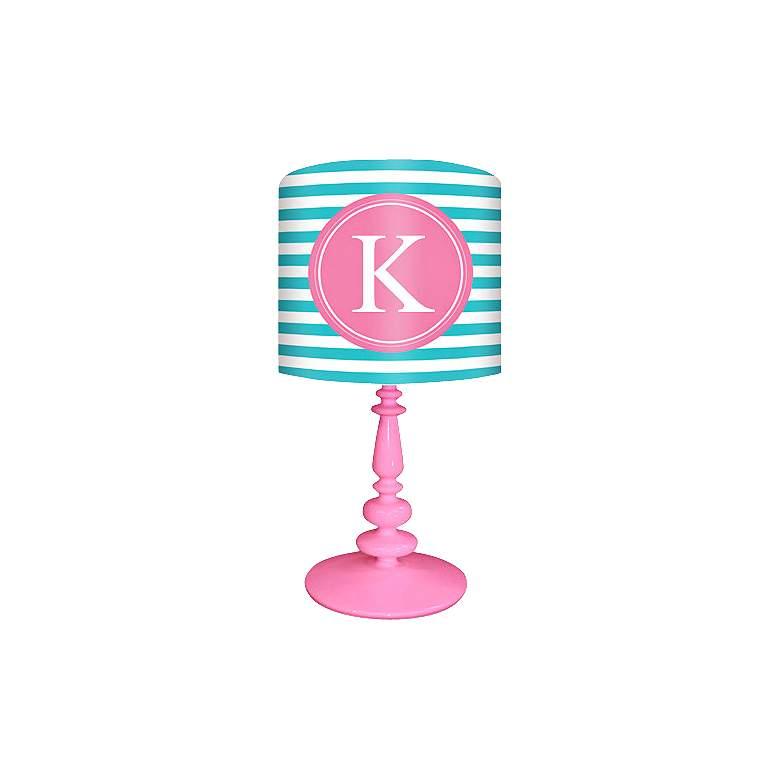 "Oopsy Daisy ""K"" Striped Monogram Kids Table Lamp"