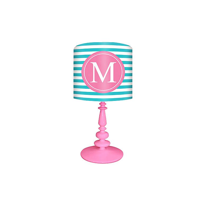 """Oopsy Daisy """"M"""" Striped Monogram Kids Table Lamp"""