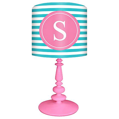 "Oopsy Daisy ""S"" Striped Monogram Kids Table Lamp"