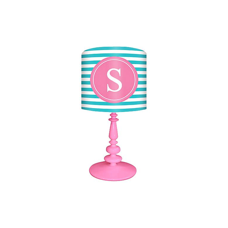 """Oopsy Daisy """"S"""" Striped Monogram Kids Table Lamp"""