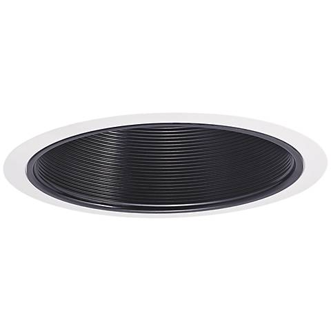 "Nora 7"" 100W Black and White Phenolic Stepped Recessed Trim"