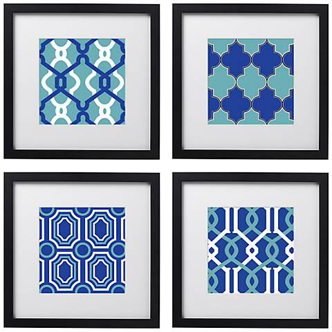 """Set of 4 Azure Tiles 14"""" Square Black Framed Wall Art"""