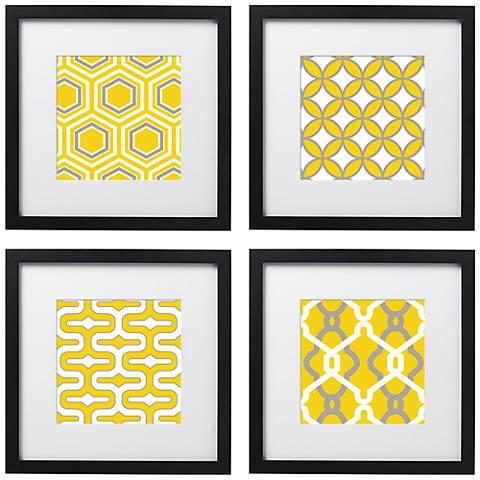 """Set of 4 Golden Tiles 14"""" Square Black Framed Wall Art"""