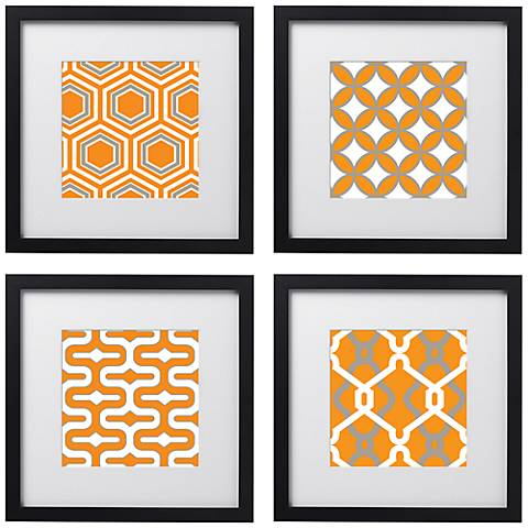 "Tangerine Tiles 4-Piece 14"" Square Black Framed Wall Art Set"