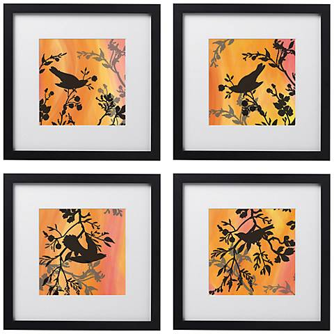 "Sunset Sparrow 4-Piece 14"" Square Black Framed Wall Art Set"