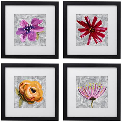 """Set of 4 Bountiful Blooms 14"""" Square Black Framed Wall Art"""