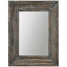 """Uttermost Missoula Distressed Wood 27"""" x 35"""" Wall Mirror"""