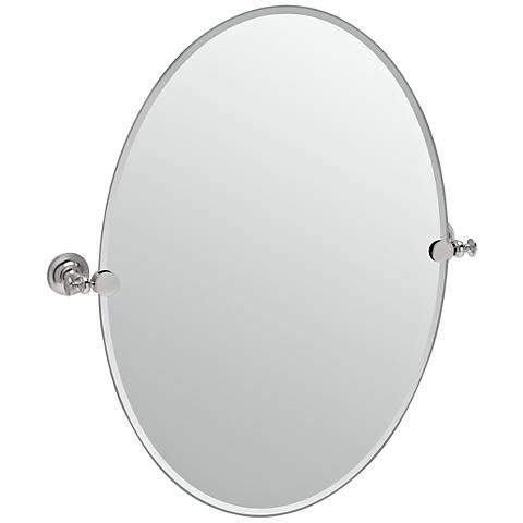 "Gatco Tavern Satin Nickel Oval 24"" x 26 1/2"" Wall Mirror"