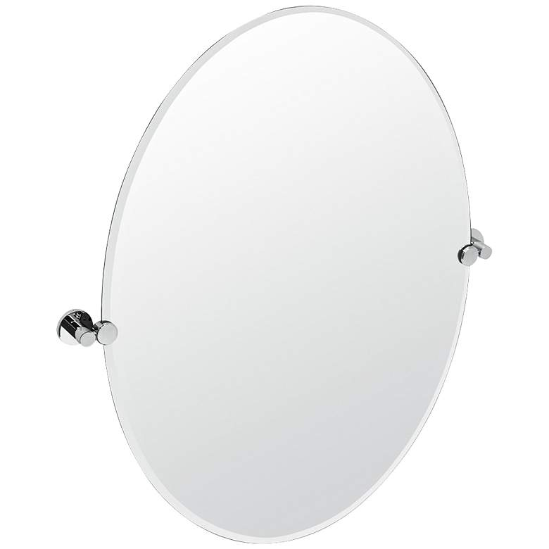 "Gatco Channel Chrome 28 1/2"" x 32"" Oval Wall Mirror"
