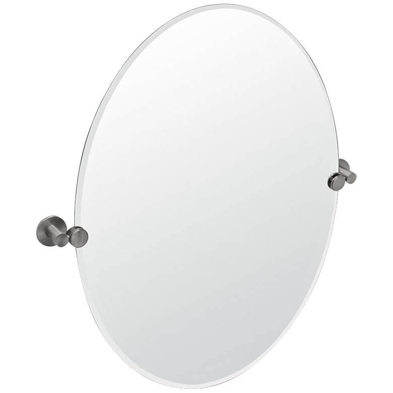 "Gatco Channel Satin Nickel 24"" x 26 1/2"" Oval Wall Mirror"