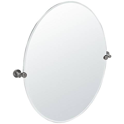 "Gatco Channel Large Satin Nickel 28 1/2"" x 32"" Mirror"