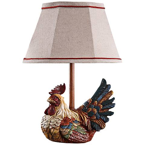 Country Farmhouse Rooster With Plaid Shade Mini Table Lamp