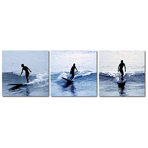 Surf Silhouettes Print Triptych Wall Art
