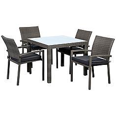Vicento 5-Piece Gray Wicker Outdoor Dining Set