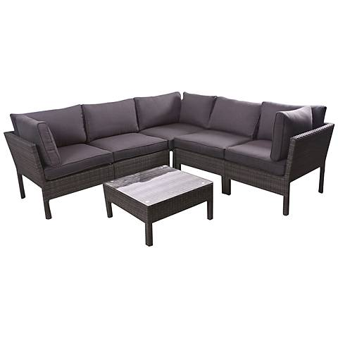 Palito 6-Piece Gray Wicker Outdoor Seating Set