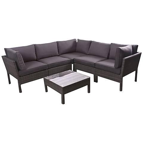 Palito 6-Piece Gray Wicker Outdoor Seating Set