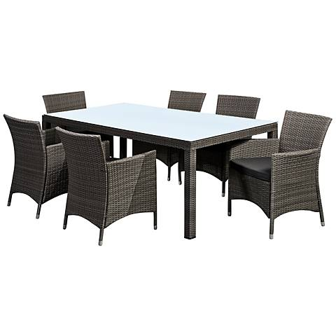 La Media 7-Piece Gray Wicker Dining Set