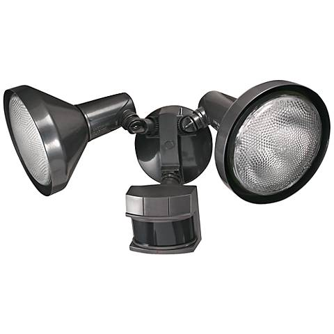 Two-Light Bronze 240-Degree Motion Sensor Security Light