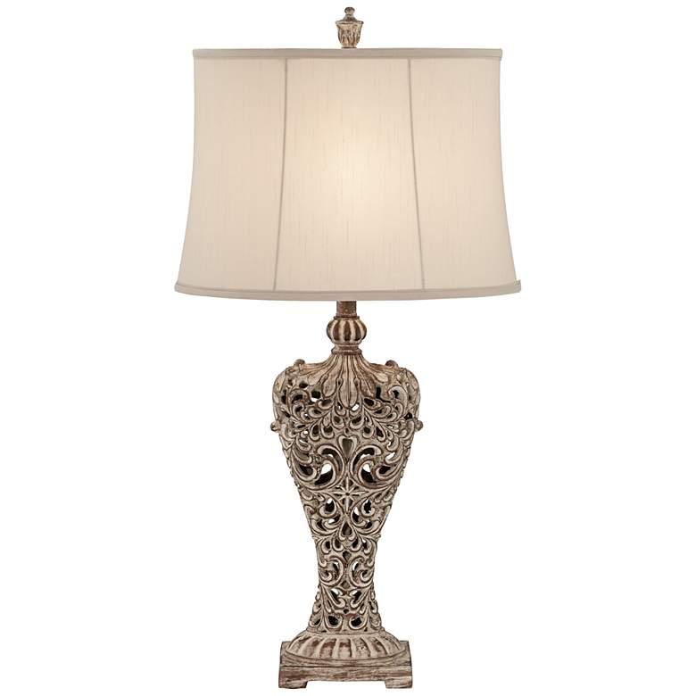 Elle Carved Antique Bronze Classic Table Lamp