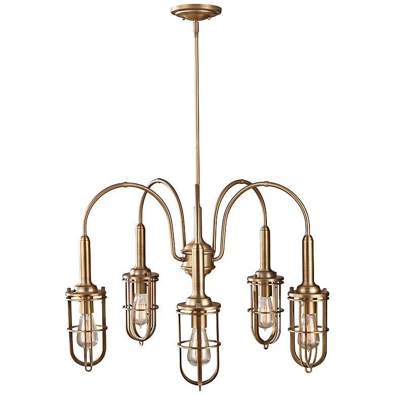"""Feiss Urban Renewal 28 1/4"""" Wide Antique Brass Chandelier"""