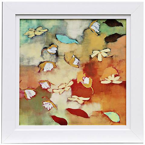 """Floating World I 31"""" Square Framed Watercolor Wall Art"""