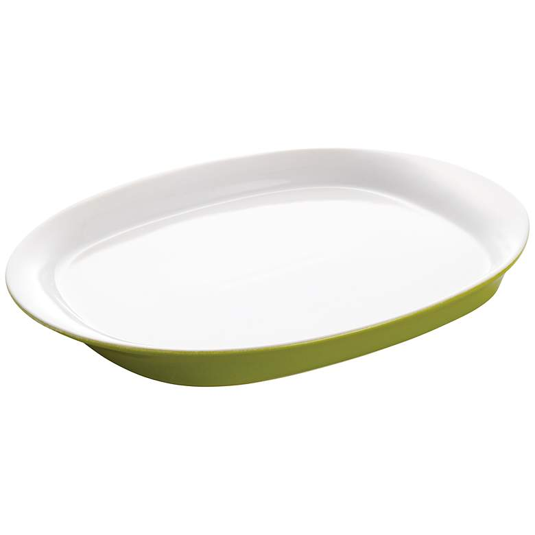 "Rachael Ray Round and Square Green 14"" Oval Platter"