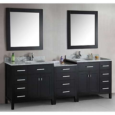 "London 92"" Wide Marble Espresso Double Sink Vanity"